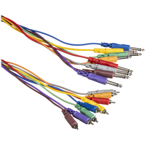 """Hosa Technology CPR802 Eight Channel Male RCA to Male 1/4"""" Phone Snake Cable - 6.6' (2 m)"""