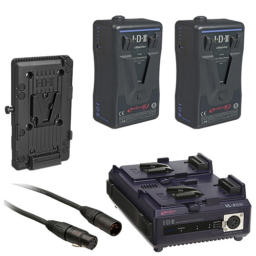 IDX System Technology E-HL9 V-Mount Dual Battery with Charger, V-Mount Conversion Plate, and XLR Cable Kit