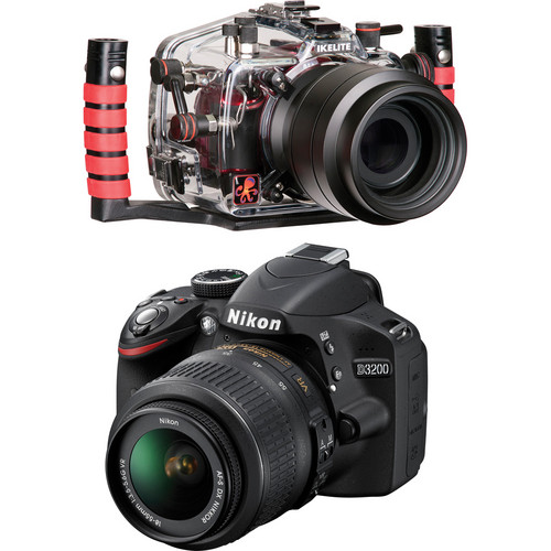 Ikelite 6801.32 Underwater Housing Kit with Nikon D3200 Camera and AF-S DX NIKKOR 18-55mm 1:3.5-5.6G VR Lens