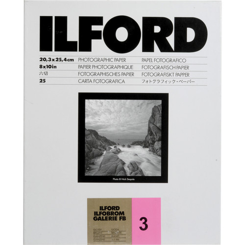 "Ilford Ilfobrom Galerie Fiber-Based Paper (8 x 10"", Grade 3, 25 Sheets, Glossy)"