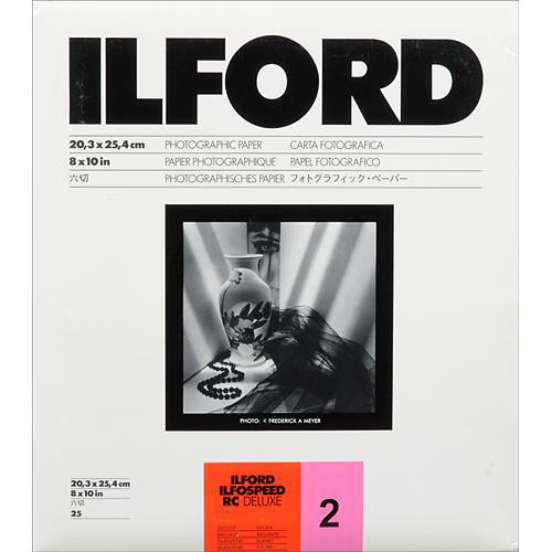 """Ilford ILFOSPEED RC DeLuxe Paper (1M Glossy, Grade 2, 8 x 10"""", 25 Sheets)"""