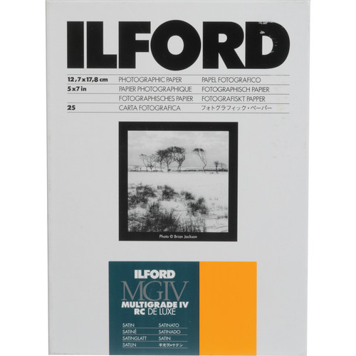 """Ilford Multigrade IV RC Deluxe MGD.25M Black & White Variable Contrast Paper (5 x 7"""", Satin, 25 Sheets)"""