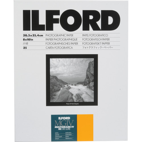"Ilford Multigrade IV RC Deluxe MGD.25M Black & White Variable Contrast Paper (8 x 10"", Satin, 25 Sheets)"