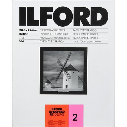 "Ilford ILFOSPEED RC DeLuxe Paper (1M Glossy, Grade 2, 8 x 10"", 100 Sheets)"