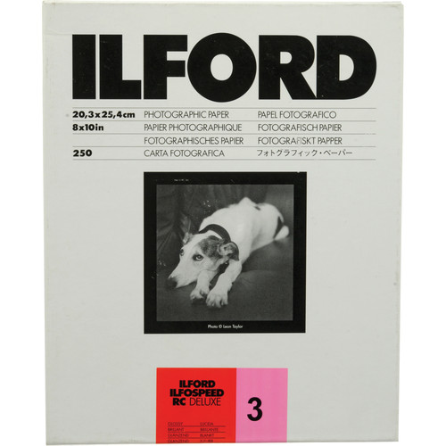 """Ilford ILFOSPEED RC DeLuxe Paper (1M Glossy, Grade 3, 8 x 10"""", 250 Sheets)"""