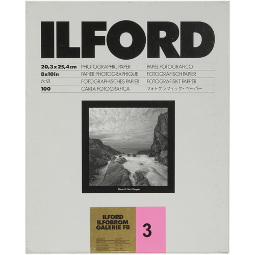 "Ilford ILFOBROM GALERIE FB Paper (Glossy, Grade 3, 8 x 10"", 100 Sheets)"