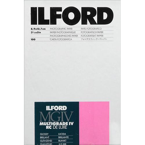 "Ilford Multigrade IV RC Deluxe MGD.1M Black & White Variable Contrast Paper (3.5 x 5"", Glossy, 100 Sheets)"