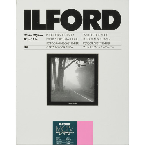 """Ilford Multigrade IV RC Deluxe MGD.1M Black & White Variable Contrast Paper (8.5 x 11"""", Glossy, 50 Sheets)"""