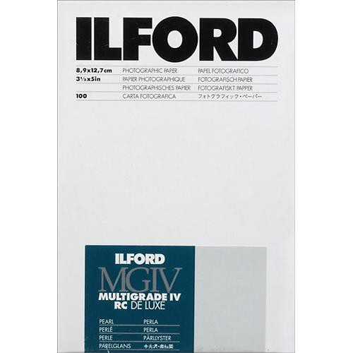 """Ilford Multigrade IV RC Deluxe MGD.44M Black & White Variable Contrast Paper (3.5 x 5"""", Pearl, 100 Sheets)"""