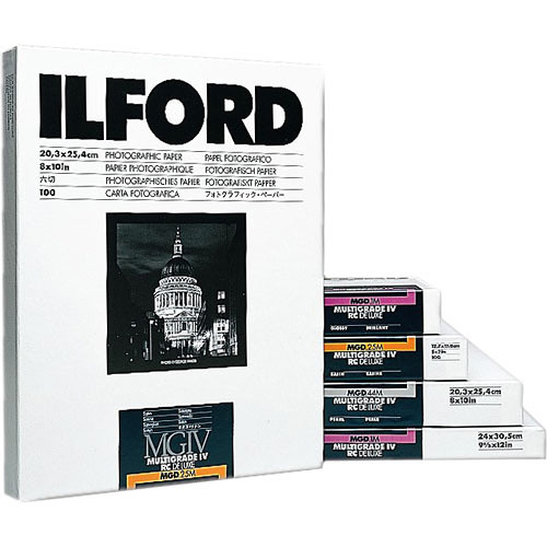"""Ilford Multigrade IV RC Deluxe MGD.44M Black & White Variable Contrast Paper (10 x 10"""", Pearl, 100 Sheets)"""