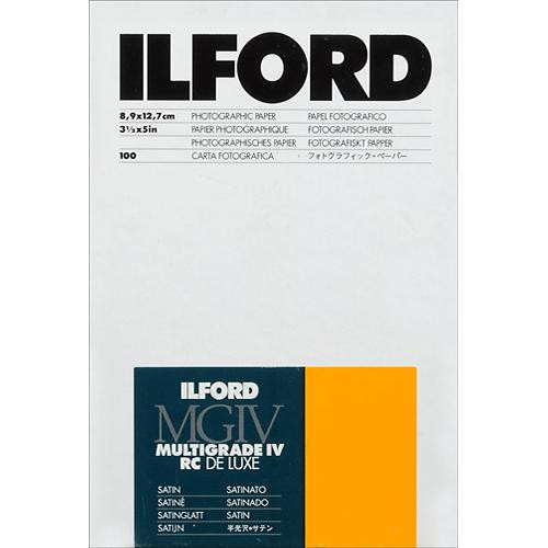 "Ilford Multigrade IV RC Deluxe MGD.25M Black & White Variable Contrast Paper (3.5 x 5"", Satin, 100 Sheets)"