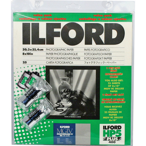 "Ilford Multigrade IV RC DeLuxe Paper and HP5 Plus Film Value Pack (Pearl, 8 x10"", 25 Sheets)"