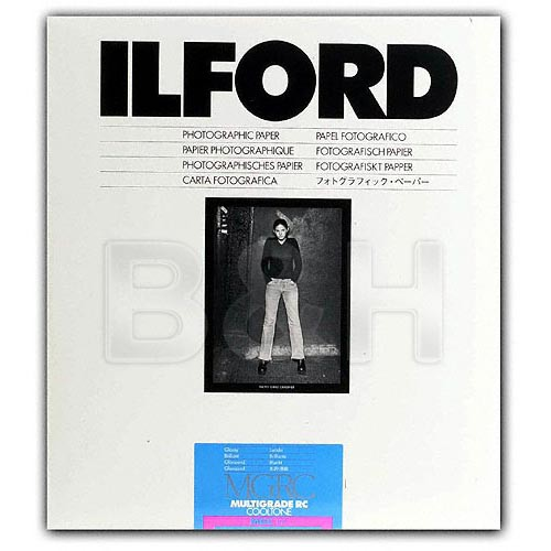 Ilford Multigrade Cooltone Resin Coated (RC) Black & White Paper (11 x 14', Glossy, 50 Sheets)