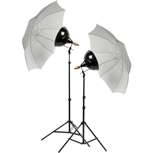Impact Tungsten Two-Floodlight Kit with 6' Stands & Umbrella Kit