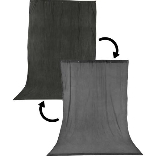 Impact Reversible Crushed Muslin Background (10 x 24', Charcoal/Smoke Gray)
