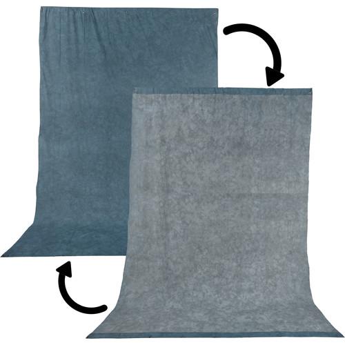 Impact Reversible Muslin Background (10 x 24', Stone Blue/Nickel)