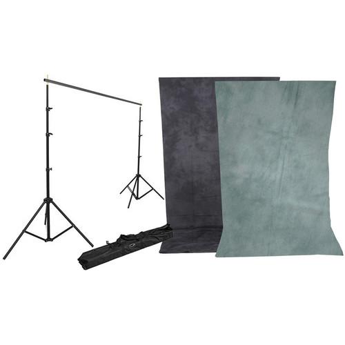 Impact Background Kit with 10 x 12' Dawn/DeepSea Blue Reversible Muslin Backdrop