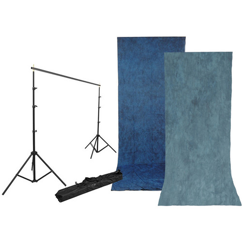 Impact Background Kit with 10 x 24' Stone Blue/Nickel Reversible Muslin Backdrop