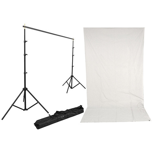 Impact Background Kit with 10 x 12' Solid Light Gray Muslin Backdrop
