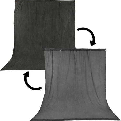 Impact Background Kit with 10 x 12' Charcoal/Smoke Gray Reversible Muslin Backdrop