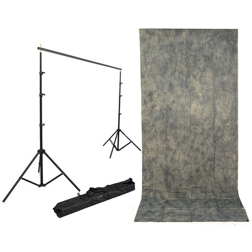 Impact Background Kit with 10 x 24' with Gray Mist Crushed Muslin Backdrop