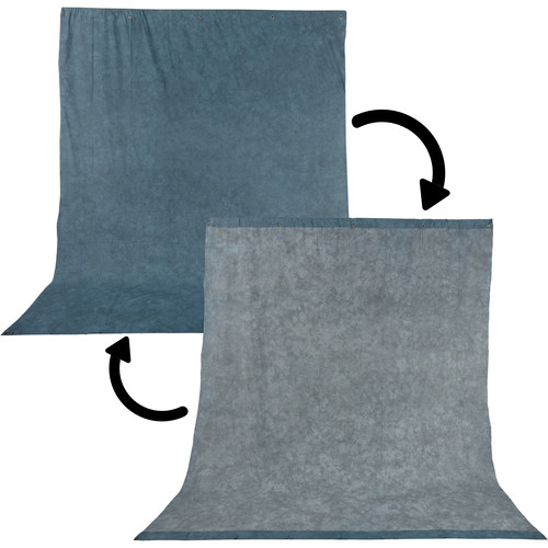 Impact Background Kit with 10 x 12' Stone Blue/Nickel Reversible Muslin Backdrop