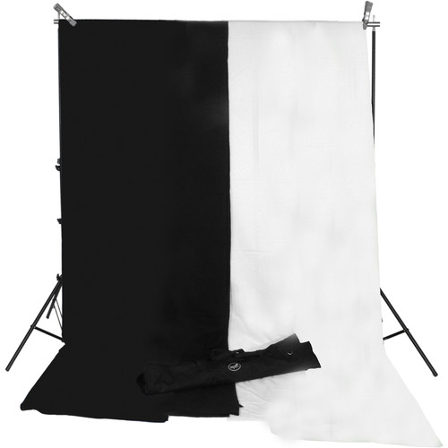 Impact Background System Kit with 10 x 12' Black, White Muslins