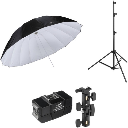 Impact 7' Parabolic Umbrella (White/Black) with Light Stand Kit