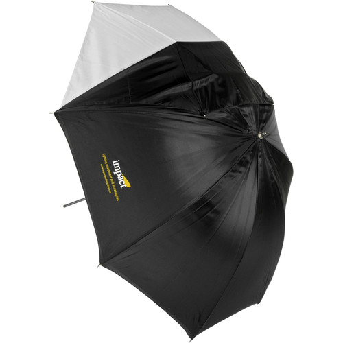 """Impact Convertible Umbrella - White Satin with Removable Black Backing - 32"""""""