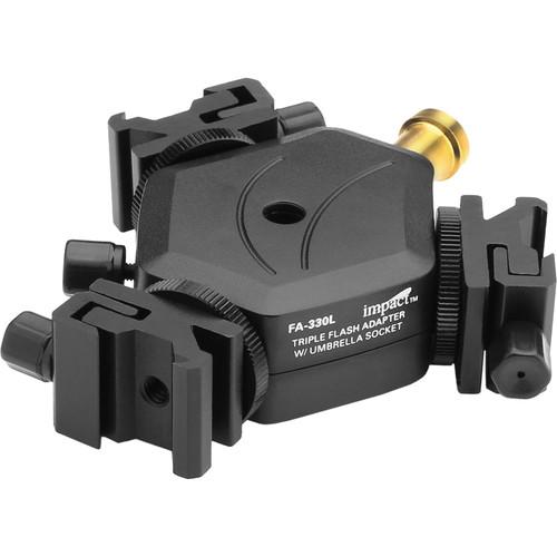 Impact FA-330L Adjustable Locking Triple Flash Adapter with Umbrella Socket