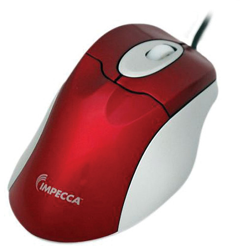 Impecca WM100 Illuminated USB Wheel Mouse (Red w/ Gray Trim)