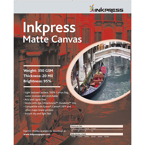 "Inkpress Media Matte Canvas - 13 x 19"" (Super-B) (10 Sheets)"