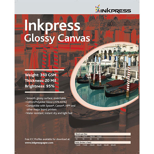 "Inkpress Media Glossy Canvas - 17 x 22"" (C) (10 Sheets)"