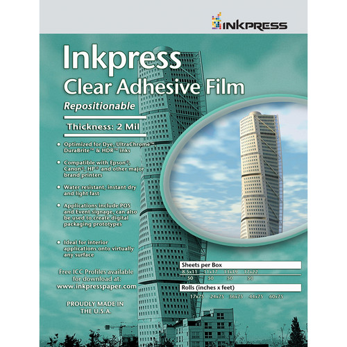 "Inkpress Media Inkpress Clear Adhesive Film (17 x 22"" - 20 Sheets)"