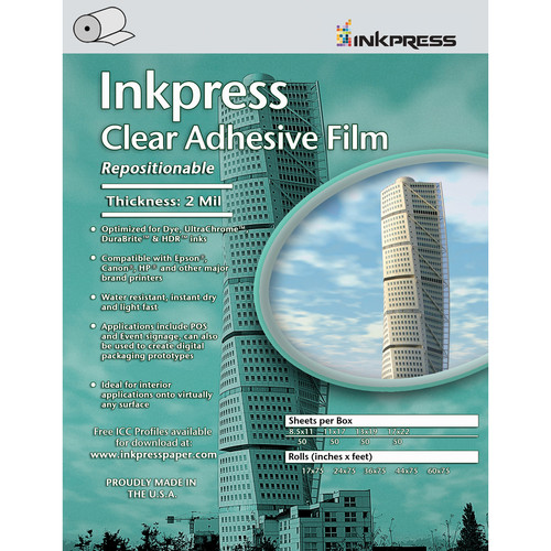 "Inkpress Media Clear Adhesive Film Roll (24""x75')"
