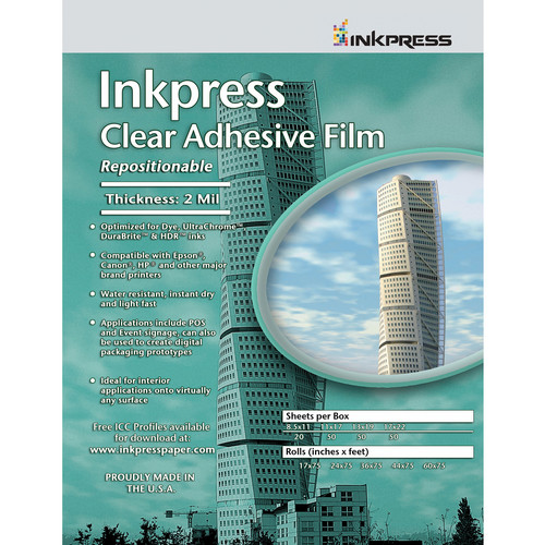 "Inkpress Media Inkpress Clear Adhesive Film (8.5 x 11"" - 20 Sheets)"