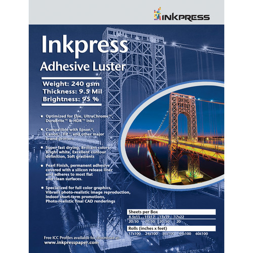 "Inkpress Media Adhesive Luster Paper (8.5 x 11"", 20 Sheets)"