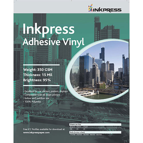 "Inkpress Media Adhesive Vinyl for Inkjet - 17x22"" (C) - 20 Sheets"