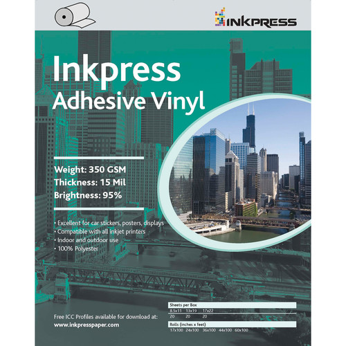 "Inkpress Media Adhesive Vinyl 350 GSM 24""x60' Roll"