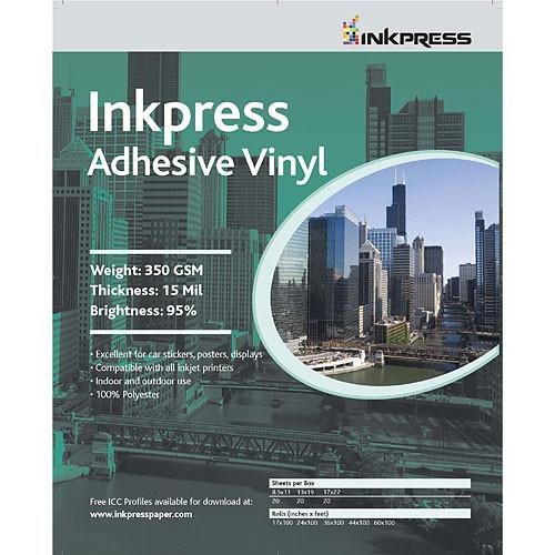 """Inkpress Media Adhesive Vinyl for Inkjet - 8.5x11"""" (Letter) - 20 Sheets"""