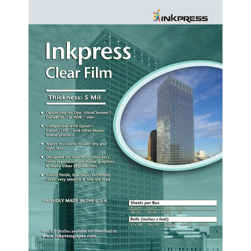 """Inkpress Media Clear Film (11 x 17"""", 20 Sheets)"""
