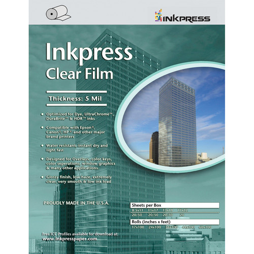 "Inkpress Media Clear Film (17"" x 100' Roll)"