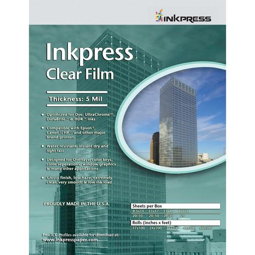 """Inkpress Media Clear Film (8.5 x 11"""", 20 Sheets)"""