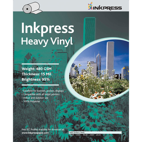 "Inkpress Media Heavy Vinyl Paper 480 GSM, 36""x45' Roll"