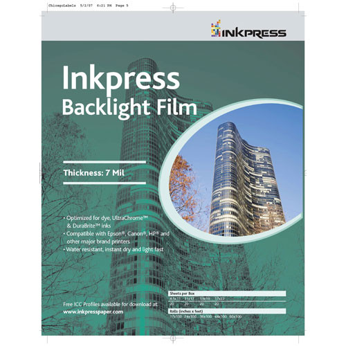 "Inkpress Media Backlight Film (11 x 17"", 50 Sheets)"