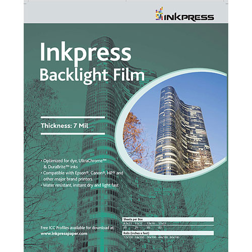 "Inkpress Media Back Light Film for Inkjet - 44"" Wide Roll - 100' Long"