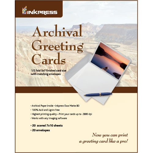 "Inkpress Media Archival Greeting Cards 7x10"" Scored (20 Sheets)"