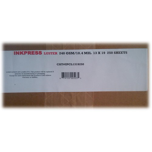 "Inkpress Media Luster RC Inkjet Photo-Grade Paper 10 mil/240 gsm 13 x 19"" 250-Sheets"