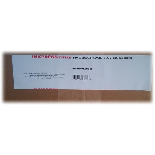 "Inkpress Media Luster RC Inkjet Photo-Grade Paper 10 mil/240 gsm 5 x 7"" 500-Sheets"