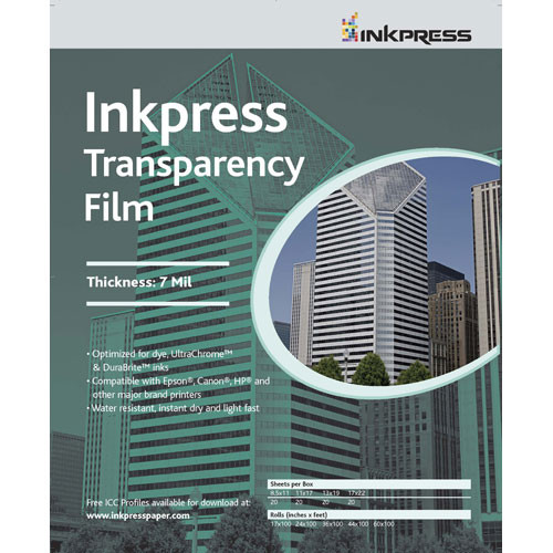 "Inkpress Media Transparency Film for Inkjet Printers (11 x 17"", 50 Sheets)"